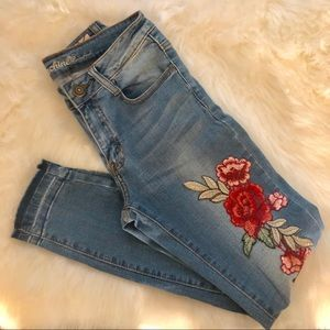 Denim - skinny jeans size 26 1 with Flower embroidery